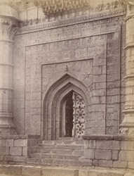 Close view of the doorway of the Mehtar Mahal, Bijapur